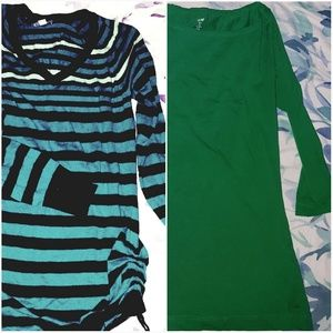 TOPS BUNDLE ~ Striped Tunic & Kelly Green 3/4 Slv